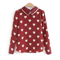 Blusas Femininas 2016 New Fashion Womens  Spring Smmer Korean Red Heart Shirts Print Casual Long Sleeve Blouses For Ladies Tops