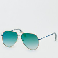 Blue Flat Lens Aviator Sunglasses, Blue