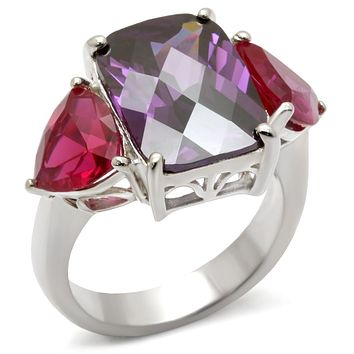3 Stone High-Polished 925 Sterling Silver Ring
