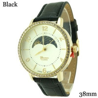 Real Moon Face Ladies Geneva Platinum Cz Leather Watch 38Mm  Black  Bracelet