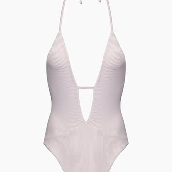 Lily Ribbed Plunging Halter One Piece Swimsuit - Rose Water Pink