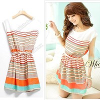 Womens Mini Dress Colorful Stripes Summer Chiffon Clubwear Free Bowknot Belt New