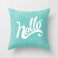 HELLO Throw Pillow by Matthew Taylor Wilson