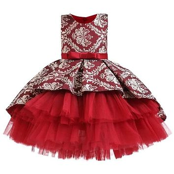 Lace Embroidery Formal Sleeveless Wedding Gown Tutu Princess Dress Flower Girls Children Clothing Kids Party For Girl Clothes