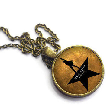 Hamilton Musical Necklace, Lin Manuel Miranda, Broadway Jewelry, Musical Theater, Playbill West End, Alexander Hamilton, Schuyler Sisters
