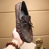"LV Louis Vuitton Men Trending ""Monogram Empriente"" Leather Loafer Shoes Black Best Quality"