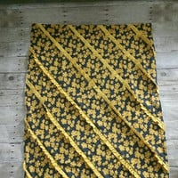 Exclusive Baby girl minky blanket - yellow floral patchwork ruffle summer blanket - yellow modern baby girl blanket - yellow nursery decor
