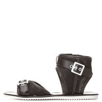 Black Qupid Buckled Mesh Ankle Cuff Sandals