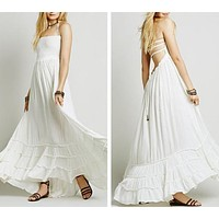 """Boho Maxi Dress White """"Extratropical"""" Halter Gown Long Strappy Backless Wedding Dress Gauze Gypsy Dress Smocked Front Adjustable Waist Triple Tiered Hem Sizes Small Medium Or Large"""