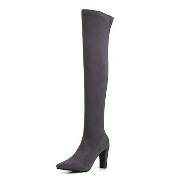 Pointed Toe Over the Knee Boots Winter Shoes for Woman 9671