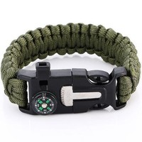 Camping, Hiking Emergency 5 in 1 Survival Paracord Bracelet