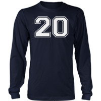 Men's Vintage Sports Jersey Number 20 Long Sleeve T-Shirt for Fan or Player #20