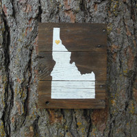 Joyful Island Creations Custom State Silhouette with a heart on your city wood sign/ gifts under 15/ state sign