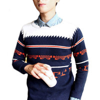 Multi Color Geometric Pattern Knitted Sweater