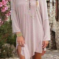 Nude Skew Neck Long Sleeve Flounce Dress