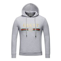GUCCI trend men's classic print logo loose hooded hoodie grey