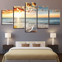 Wall Art Poster Modern Home Decor Living Room 5 Pieces Sunset Landscape Sea Beach Canvas Print Painting Modular Pictures Frame