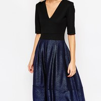 ASOS Structured Midi Dress with Metallic Skirt