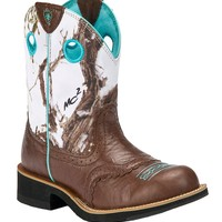 Ariat® Fatbaby Cowgirl™ Ladies Brown Crinkle w/ Snowflake Camo Top Western Boot