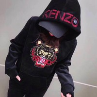 kenzo women fashion casual velvet embroidery tiger head letter pattern long sleeve hooded sweater trousers set two piece sportswear