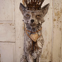 Large Fox statue painted sculpture deep gray taupe w/ whte adorned ornate crown distressed dog art figure farmhouse decor anita spero design
