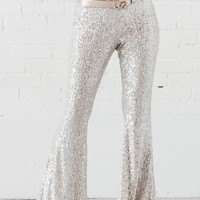Disco Date Gold High Waisted Sequin Flares