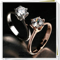 18K Gold/Silver Plated Crystal Ring Classic Jewelry Love Wedding Engagement 2 Colors