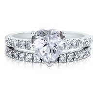 Sterling Silver 925 Heart CZ Cubic Zirconia 2pc Solitaire Ring Set #r406