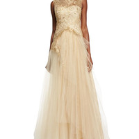 Marchesa Notte Sleeveless Lace-Bodice Tulle-Skirt Gown