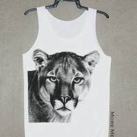 Lioness Face Animal Shirt White Tank Top Singlet Vest Tunic Sleeveless Women Top Tee Indie Art Photo Rock T-Shirt Size S-M