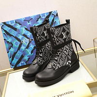 lv louis vuitton trending womens men leather side zip lace up ankle boots shoes high boots 234