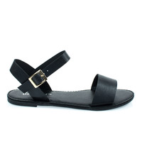 dotty1 Black By Bonnibel, open toe flat sandal w adjustable ankle strap
