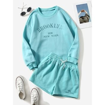 Letter Embroidery Pullover & Drawstring Waist Track Shorts
