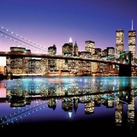 New York City Skyline-Brooklyn Bridge, Photography Giant Poster Print, 39 by 55-Inch