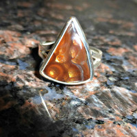 Fire agate. Fine silver, Sterling silver gemstone ring. High quality stone.