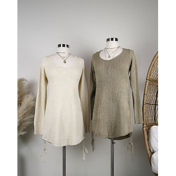 Open Back Knit Sweater Dress with Side Drawstring in More Colors