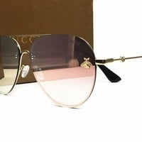 Gucci GG0225S 003 Gold/Green GG0225S Round Sunglasses Lens Category 2 Size 63