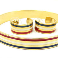 Avon Patriotic Red White Blue Gold Bangle Bracelet Matching Hoop Earring Set Flag Fourth of Jewelry Vintage Costume Jewelry NOS Box 1970