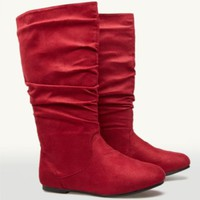 Ruched Suede Boots