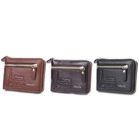 New Fashion Men Faux Leather Mini Wallet ID Card Key Holder Zip Coin Purse Bag Pouch