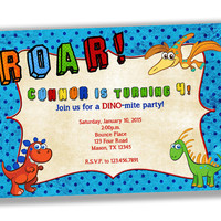 Dinosaur Birthday Invites - Dino Birthday Party - ROAR! - 1st Birthday Boy - Cartoon Dinosaur Invitations - Cute Dino Invite  - Boys