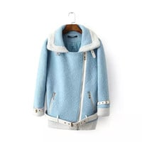 Blue Belted Bottom Woolen Jacket