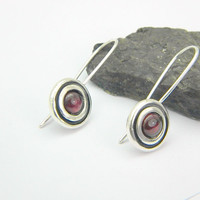 Garnet earrings sterling silver, modernist earrings, disc dangle earrings - long ear wires  January birthstone, garnet jewelry