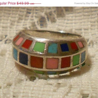 Vintage Sterling Silver Zuni Ring Multi Color Inlay Size 6 1/2