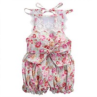 2017 Good Quality Infant Baby Girls Jumpsuit Rompers Summer Floral Lace Romper Sleeveless Fashion Flower Clothing for Girls Kids