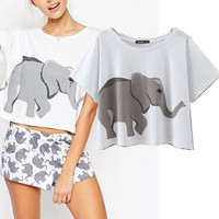 Elephant Women's Trending Popular Fashion Summer Beach Holiday Cotton Floral Printed Loose Pullover Round Necked T-Shirt Crop Top Bare Midriff Shirt _ 4182