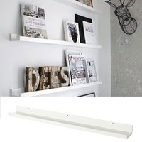 Denver Modern Floating Wall Ledge Shelf for Pictures and Frames 46 Inches Long , White ...