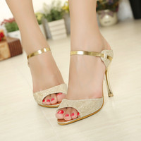 Korean Peep Toe Summer Princess High Heel Fashion Stylish Sandals = 4814777732