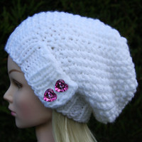 Hand Knit Hat Women's Hat- Hand knitted white or black slouchy beanie- hat with heart shaped sparkle pink buttons