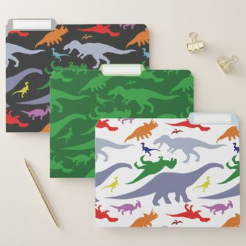 Colorful Dinosaur Pattern File Folder